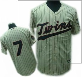 Youth Minnesota Twins #7 Joe Mauer Cream jersey