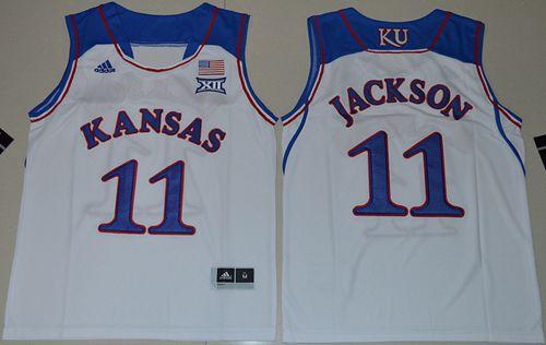 Youth NCAA Kansas Jayhawks #11 Josh Jackson White Basketball Jersey