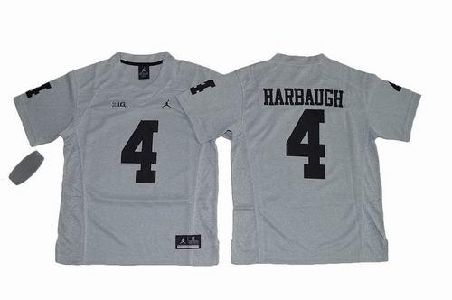 Youth NCAA Michigan Wolverines #4 Jim Harbaugh grey jerseys