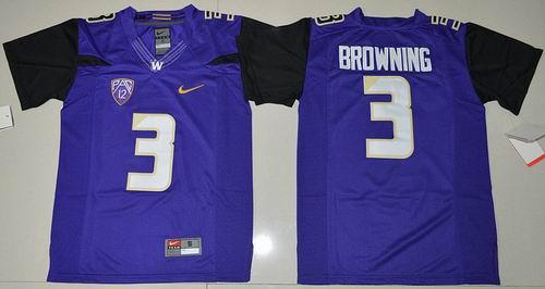 Youth NCAA Washington Huskies #3 Jake Browning Purple Limited Jersey