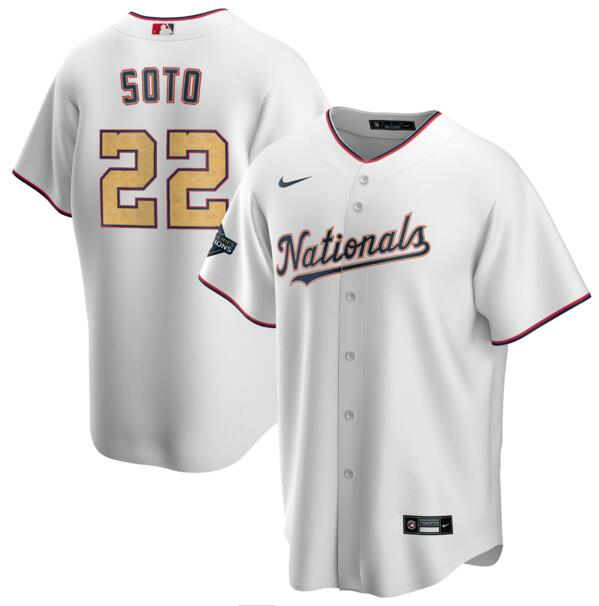 Youth Nationals 22 Juan Soto White Gold Youth Nike 2020 Gold Program Cool Base Jersey