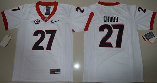 Youth Ncaa Georgia Bulldogs 27 Chubb College Football Limited white Jerseys
