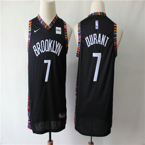 Youth Nets 7 Kevin Durant Black Youth City Edition Nike Swingman Jersey1