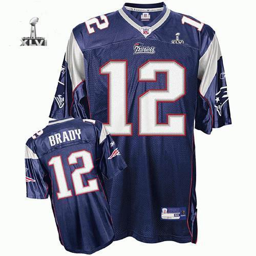 Youth New England Patriots #12 Tom Brady 2012 Super Bowl XLVI Jersey blue