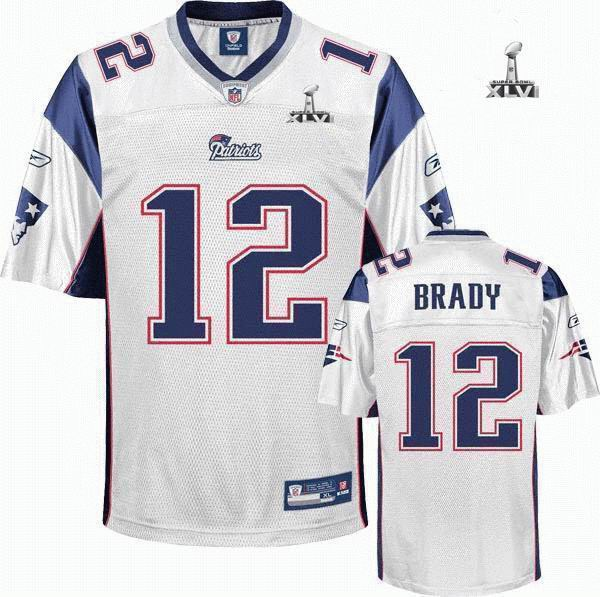 Youth New England Patriots #12 Tom Brady 2012 Super Bowl XLVI Jersey white
