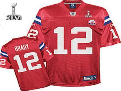 Youth New England Patriots #12 Tom Brady 50TH jersey 2012 Super Bowl XLVI Jersey red