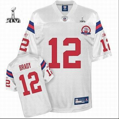 Youth New England Patriots #12 Tom Brady 50TH jersey 2012 Super Bowl XLVI Jersey white