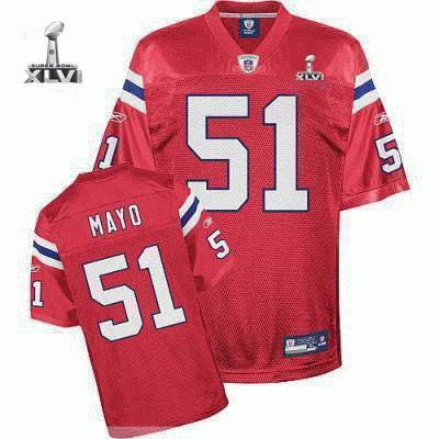 Youth New England Patriots #51 Jerod Mayo 2012 Super Bowl XLVI Jersey red
