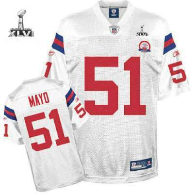 Youth New England Patriots #51 Jerod Mayo 50 TH 2012 Super Bowl XLVI Jersey white