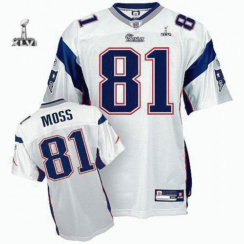 Youth New England Patriots #81 Randy Moss 2012 Super Bowl XLVI Jersey white