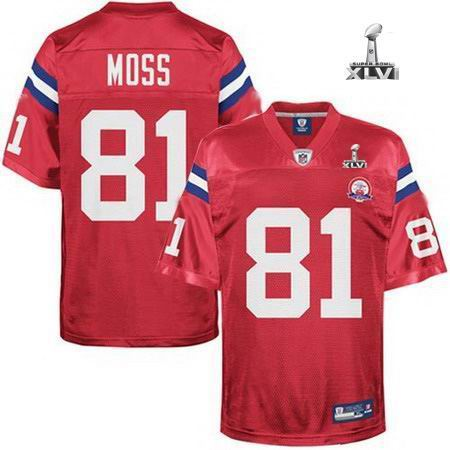 Youth New England Patriots #81 Randy Moss 50TH jersey 2012 Super Bowl XLVI Jersey red