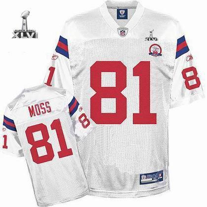 Youth New England Patriots #81 Randy Moss 50TH jersey 2012 Super Bowl XLVI Jersey white