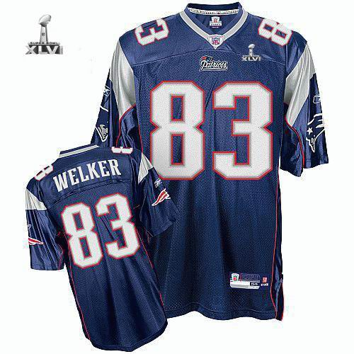 Youth New England Patriots #83 Wes Welker 2012 Super Bowl XLVI Jersey blue
