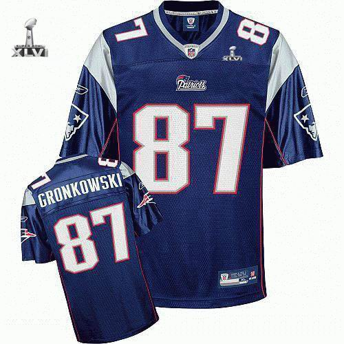 Youth New England Patriots #87 Rob Gronkowski 2012 Super Bowl XLVI Jersey blue