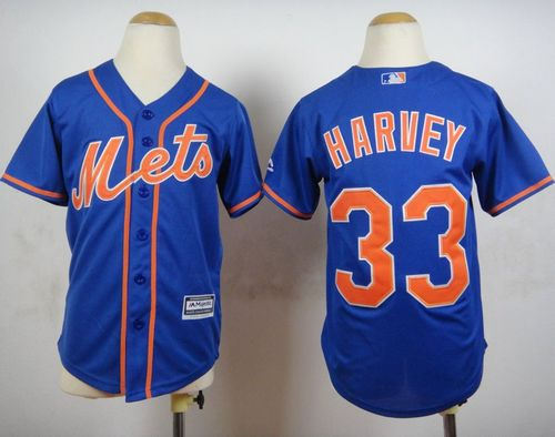 Youth New York Mets 33 Matt Harvey Blue Alternate Home Cool Baseball Jersey