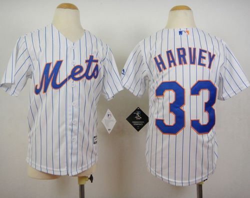 Youth New York Mets 33 Matt Harvey White(Blue Strip) Home Cool Base Baseball Jersey