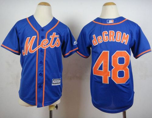 Youth New York Mets 48 Jacob DeGrom Blue Alternate Home Cool Base Baseball jersey