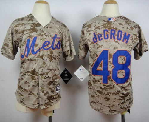 Youth New York Mets 48 Jacob DeGrom Camo Alternate Cool Base Baseball Jersey