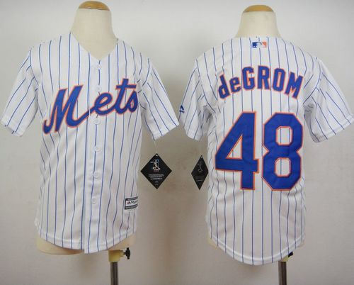 Youth New York Mets 48 Jacob DeGrom White(Blue Strip) Home Cool Base Baseball Jersey