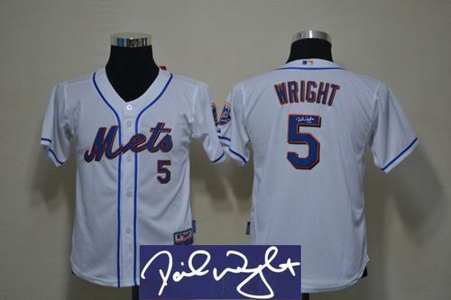 Youth New York Mets 5# David Wright white signature Jersey