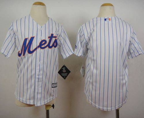 Youth New York Mets Blank White(Blue Strip) Home Cool Base Baseball Jersey