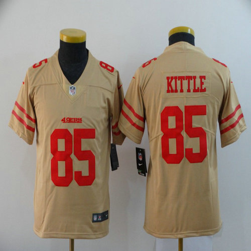 Youth Nike 49ers 85 George Kittle Cream Youth Inverted Legend Limited Jersey