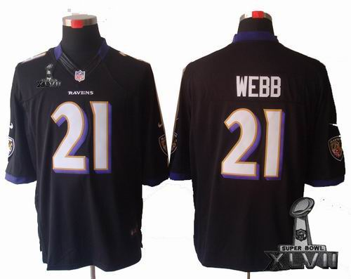 Youth Nike Baltimore Ravens #21 Lardarius Webb black limited 2013 Super Bowl XLVII Jersey
