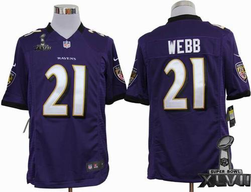 Youth Nike Baltimore Ravens #21 Lardarius Webb purple game 2013 Super Bowl XLVII Jersey