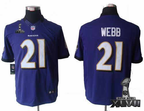 Youth Nike Baltimore Ravens #21 Lardarius Webb purple limited 2013 Super Bowl XLVII Jersey