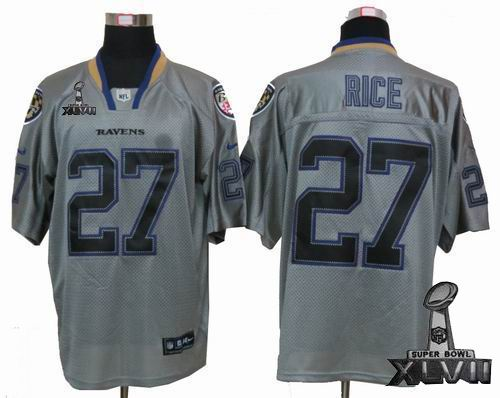 Youth Nike Baltimore Ravens #27 Ray Rice Lights Out grey elite 2013 Super Bowl XLVII Jersey