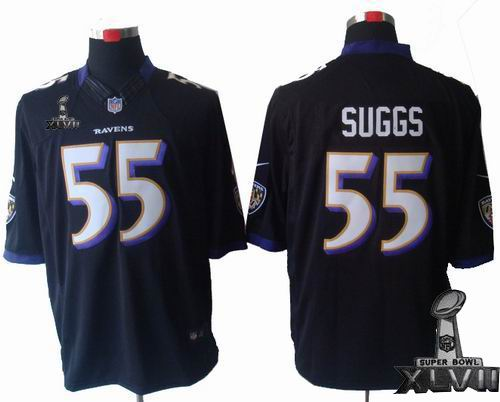 Youth Nike Baltimore Ravens #55 Terrell Suggs black Limited 2013 Super Bowl XLVII Jersey
