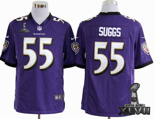 Youth Nike Baltimore Ravens #55 Terrell Suggs purple game 2013 Super Bowl XLVII Jersey