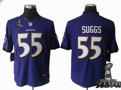 Youth Nike Baltimore Ravens #55 Terrell Suggs purple limited 2013 Super Bowl XLVII Jersey