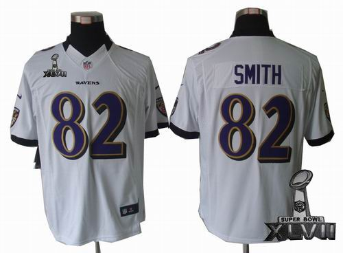 Youth Nike Baltimore Ravens #82 Torrey Smith white limited 2013 Super Bowl XLVII Jersey