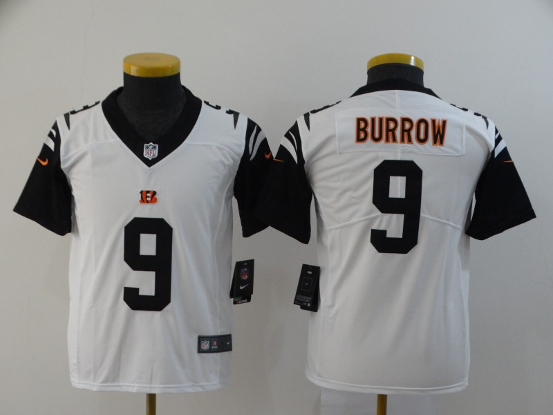 Youth Nike Bengals 9 Joe Burrow Black Youth 2020 NFL Draft First Round Pick Color Rush Limited Jersey