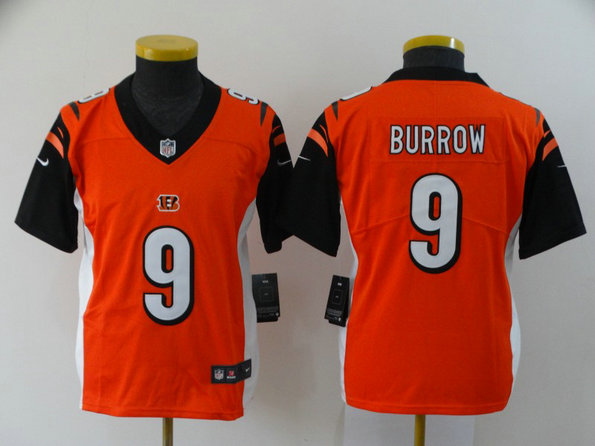 Youth Nike Bengals 9 Joe Burrow Orange Youth 2020 NFL Draft First Round Pick Vapor Untouchable Limited Jersey