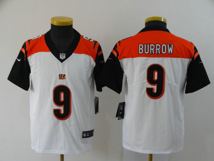 Youth Nike Bengals 9 Joe Burrow White Youth 2020 NFL Draft First Round Pick Vapor Untouchable Limited Jersey