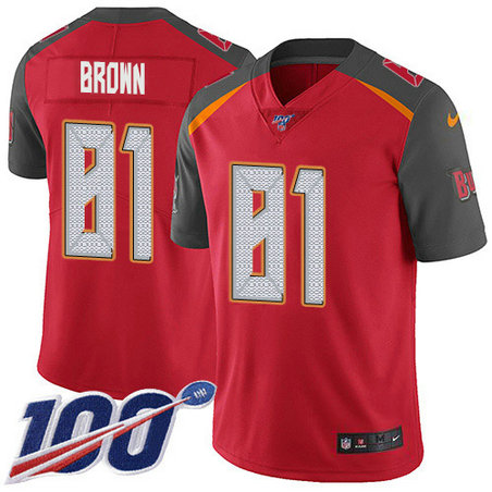 Youth Nike Buccaneers #81 Antonio Brown Red Team Color Youth Stitched NFL 100th Season Vapor Untouchable Limited Jersey