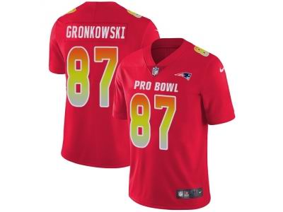 Youth Nike New England Patriots #87 Rob Gronkowski Red Limited AFC 2018 Pro Bowl Jersey