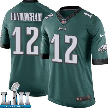 Youth Nike Philadelphia Eagels Super Bowl LII 12 Randall Cunningham Elite Midnight Green Team Color NFL Jersey