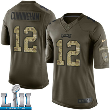 Youth Nike Philadelphia Eagels Super Bowl LII 12 Randall Cunningham Limited Green Salute to Service NFL Jersey