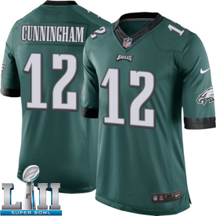 Youth Nike Philadelphia Eagels Super Bowl LII 12 Randall Cunningham Limited Midnight Green Team Color NFL Jersey