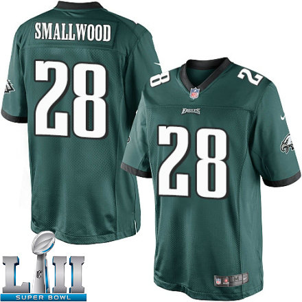 Youth Nike Philadelphia Eagels Super Bowl LII 28 Wendell Smallwood Limited Midnight Green Team Color NFL Jersey