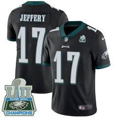Youth Nike Philadelphia Eagles #17 Alshon Jeffery Black Alternate Super Bowl LII Champions Stitched NFL Vapor Untouchable Limited Jersey
