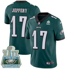 Youth Nike Philadelphia Eagles #17 Alshon Jeffery Midnight Green Team Color Super Bowl LII Champions Stitched NFL Vapor Untouchable Limited Jersey