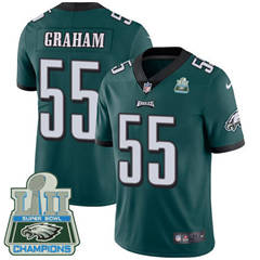 Youth Nike Philadelphia Eagles #55 Brandon Graham Midnight Green Team Color Super Bowl LII Champions Stitched NFL Vapor Untouchable Limited Jersey