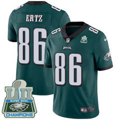 Youth Nike Philadelphia Eagles #86 Zach Ertz Midnight Green Team Color Super Bowl LII Champions Stitched NFL Vapor Untouchable Limited Jersey