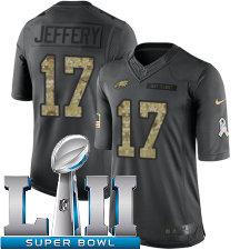 Youth Nike Philadelphia Eagles Super Bowl LII 17 Alshon Jeffery Limited Black 2016 Salute to Service NFL Jersey