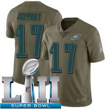 Youth Nike Philadelphia Eagles Super Bowl LII 17 Alshon Jeffery Limited Olive 2017 Salute to Service NFL Jersey