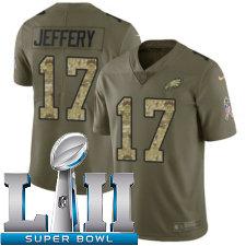 Youth Nike Philadelphia Eagles Super Bowl LII 17 Alshon Jeffery Limited OliveCamo 2017 Salute to Service NFL Jersey